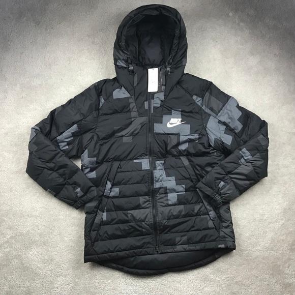 292c2d431dc4 Nike Full Zip Down Filled Winter Jacket Black Grey